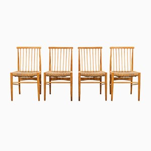 Vintage Rattan Dining Chairs, 1960s, Set of 4