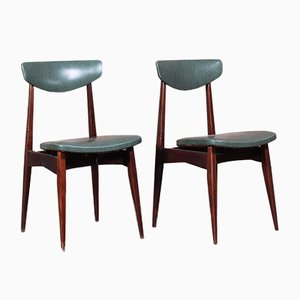 Scandinavian Imitation Leather Dining Chairs, 1970s, Set of 2
