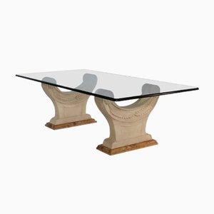 Table Basse Royale en Marbre, Cristal et Pierre Sculptée par Cupioli Made In Italy