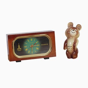 Vintage Olympic Games Clock & Decorative Bear, Set of 2