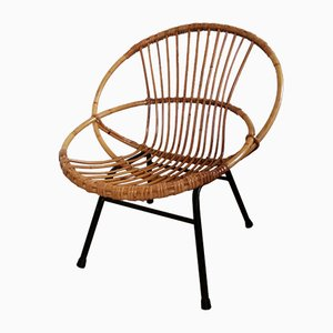Rattan and Metal Lounge Chair, 1960s