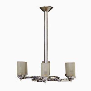 Lámpara de techo Art Déco de vidrio con seis brazos, años 30
