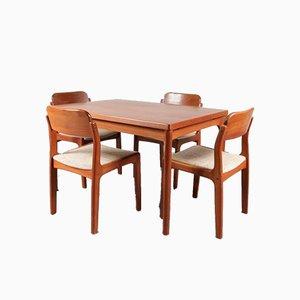 Juego de mesa y sillas de comedor de Henning Kjærnulf para Vejle Stole, años 60