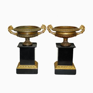 Antique Bronze & Gold Cups, Set of 2
