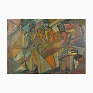 Large Cubist Jazz Band Oil Painting by Elisabeth Ronget, 1930s