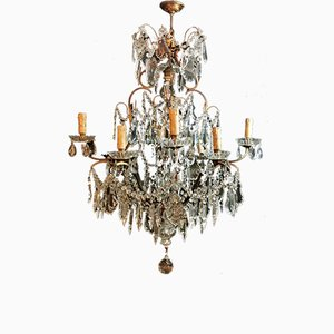 Antique Maria Therese Style Italian Crystal and Brass Ceiling Lamp, 1880s