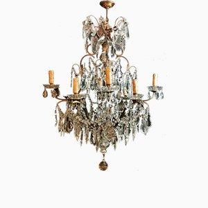 Italienische Deckenlampe aus Kristallglas und Messing im Maria Therese Stil