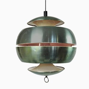 Vintage Metallic Green Apple Pendant Light, 1970s