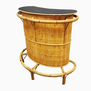 Mueble bar Tiki de ratán y bambú, años 60