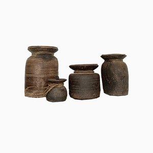 Antique Himalayan Curd Pots, Set of 4