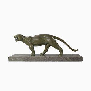 Art Déco Pantherskulptur von Alexandre Ouline, 1920er