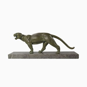 Escultura de pantera Art Déco de Alexandre Ouline, años 20