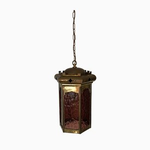 Large Brass Lantern with Amethyst Textured Glass