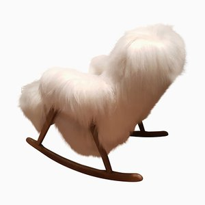 Scandinavian Teak and Sheepskin Rocking Chair by Louis Van Teeffelen for WéBé, 1970s