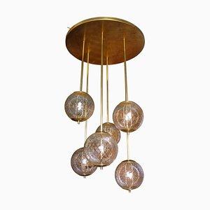 Lampada da soffitto Mid-Century in ottone e vetro trasparente, anni '60