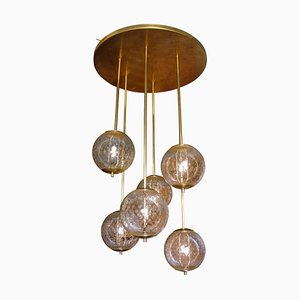 Mid-Century Clear Glass and Brass Flush Mount Ceiling Lamp, 1960s