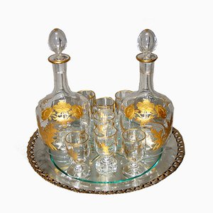 Antique Crystal Liquor Service by Baccarat, Set of 10