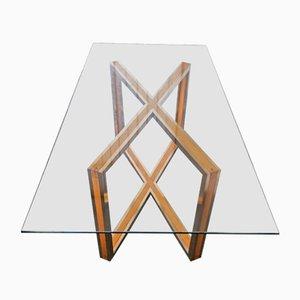 Esstisch mit Messinggestell von Romeo Rega, 1970er