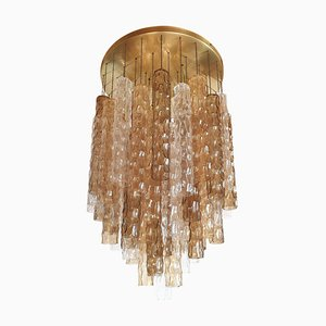 Large Mid-Century Bamboo and Murano Glass Flush Mount Ceiling Lamp from Mazzega, 1960s