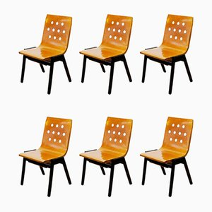 Mid-Century Austrian Stacking Dining Chairs by Roland Rainer for Emil & Alfred Pollak, 1950s, Set of 6