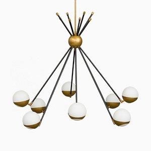 Lámpara de araña Sputnik italiana de latón de Stilnovo, años 70
