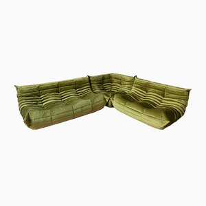 Velvet Living Room Set by Michel Ducaroy for Ligne Roset, 1980s, Set of 3