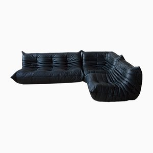 French Leather Sofas by Michel Ducaroy for Ligne Roset, 1973, Set of 3
