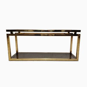 Brass & Smoked Glass Console Table, 1970s