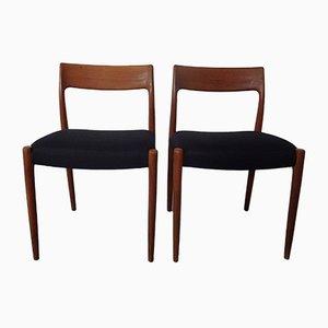 Sedie da pranzo nr. 77 in teak di Niels Otto Møller per J.L. Møllers, anni '60, set di 2