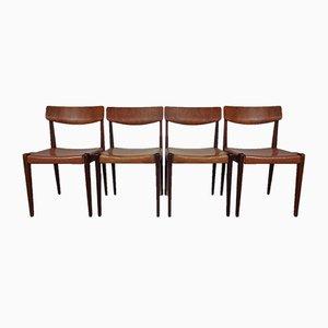 Dänische Esszimmerstühle aus Teak & Leder, 1960er, 4er Set