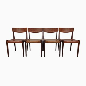 Danish Teak and Leather Dining Chairs, 1960s, Set of 4