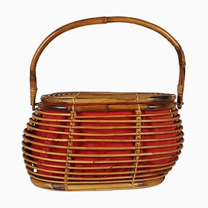 Vintage Italian Red Wool and Rattan Basket, 1960s