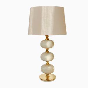 Brass and White Glass Table Lamp by Henrik Blomqvist for Tranås Stilarmatur, 1960s