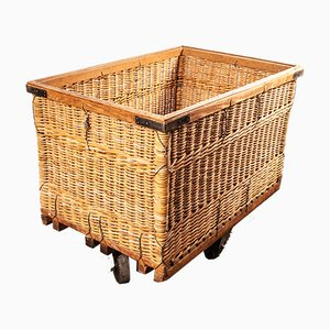 Vintage Industrial French Rattan Trolley, 1950s