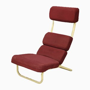 Roter japanischer Mid-Century Sessel, 1950er