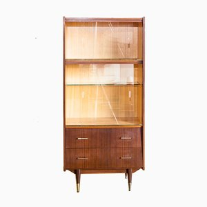 French Glass and Teak Display Cabinet, 1960s