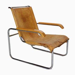 Modell B35 Armlehnstuhl aus Leder von Marcel Breuer für Thonet, 1930er