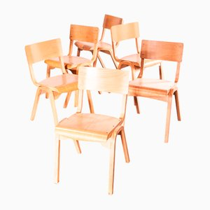 Stacking Dining Chair from Lamstak, 1950s, Set of 6