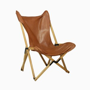 Leather and Teak Model Tripolina Folding Chair by Alfonsi Dario, 1990s