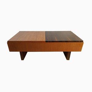 Table Basse Art Déco en Contreplaqué d'Ébène de Macassar et de Palmier, années 40