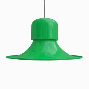 Vintage Italian Green Ceiling Lamp from Stilnovo, 1970s