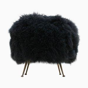 Mid-Century Italian Goat Fur Footstool
