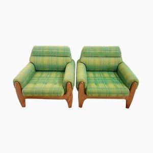 Fauteuils en Tissu Vert et Teck, années 60, Set de 2