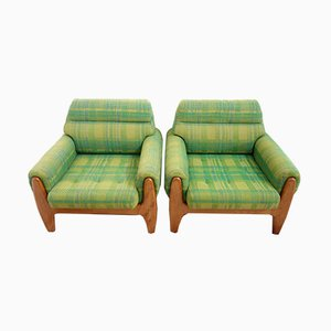 Green Fabric and Teak Lounge Chairs, 1960s, Set of 2