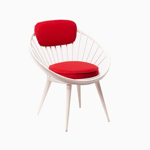 Mid-Century White and Red Circle Lounge Chair by Yngve Ekström, 1950s