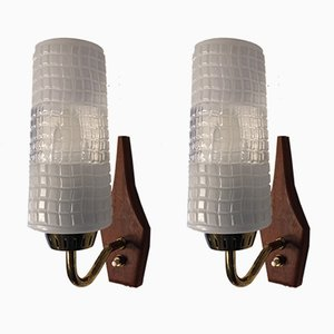 Vintage Danish Teak and Brass Sconces from Laoni Belysning, 1960s, Set of 2