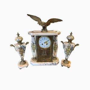 Antique Napoleon III Marble and Bronze Clock Set