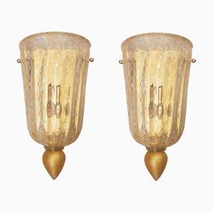 Apliques Mid-Century de cristal de Murano dorado, años 60. Juego de 2