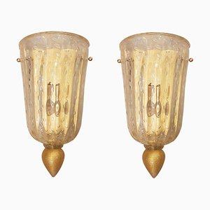 Mid-Century Gold Murano Glass Sconces, 1960s, Set of 2