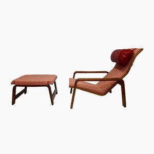 Model Pulkka Lounge Chair and Ottoman Set by Ilmari Lappalainen for Asko, 1960s